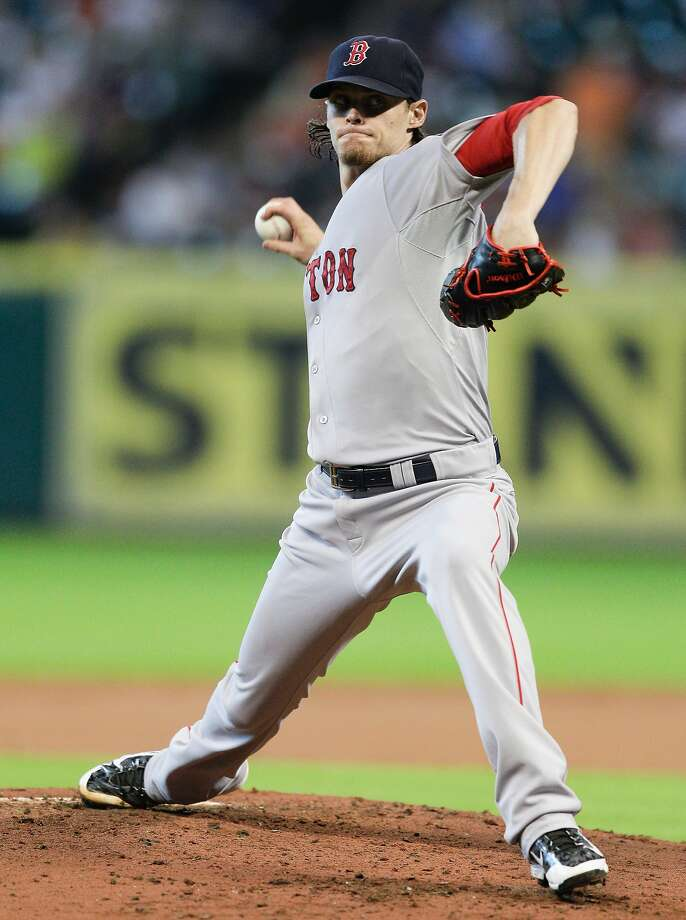 Boston's Clay Buchholz pitched his first shutout of the season, a three-hitter with 12 strikeouts against Houston. Photo: Bob Levey, Getty Images