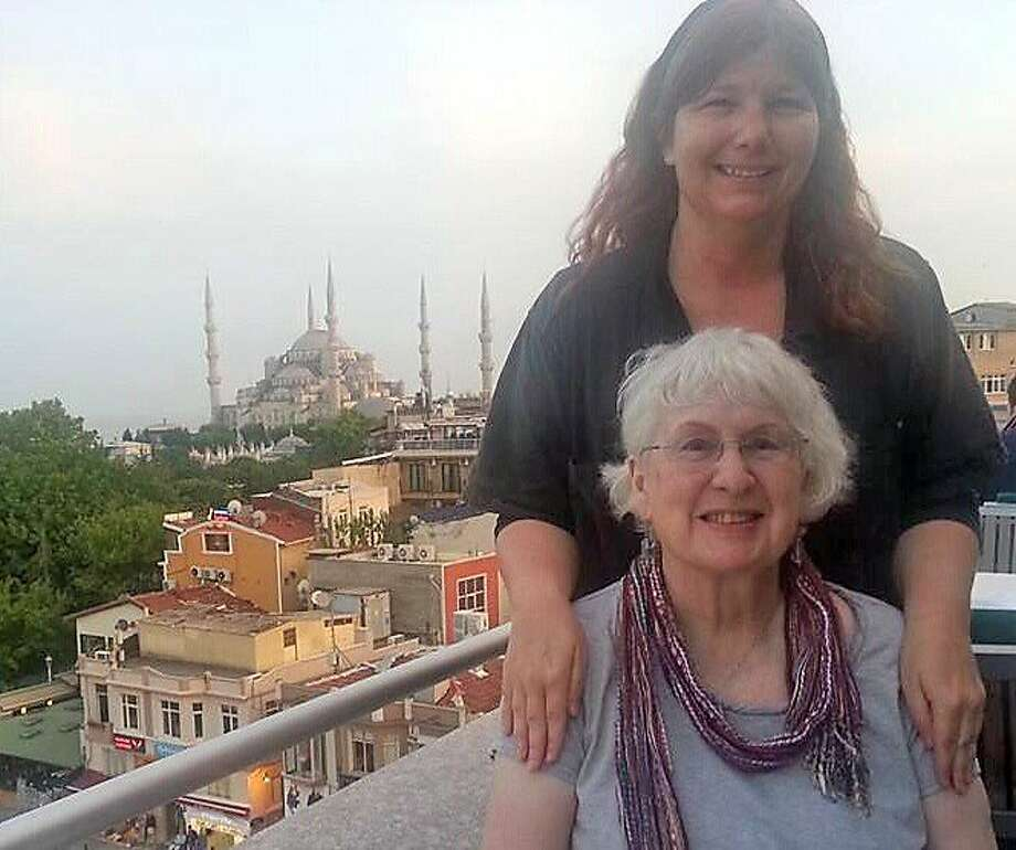 Linda O'Roke and Ruth Shelby in old town Istanbul with The Blue Mosque in the background. Photo: Courtesy Ruth Shelby