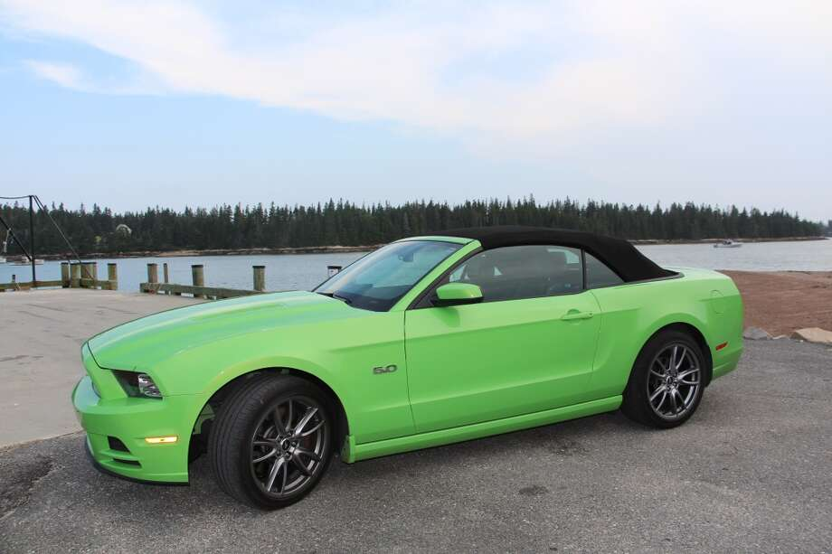 With the top up, the Mustang convertible still has pretty good rearward vision, given the big back window.