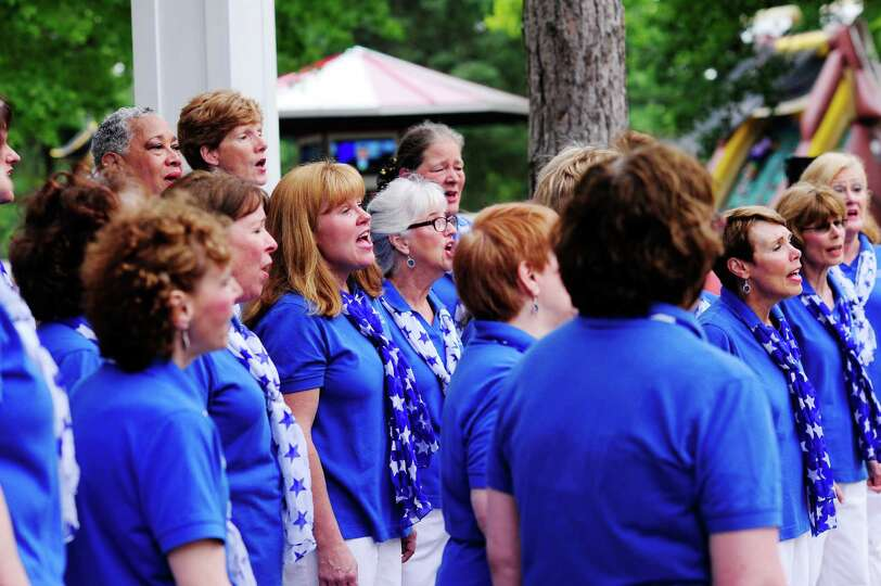 Members of the Saratoga Soundtrack Chorus perform at the Open House for the Saratoga Race Course on