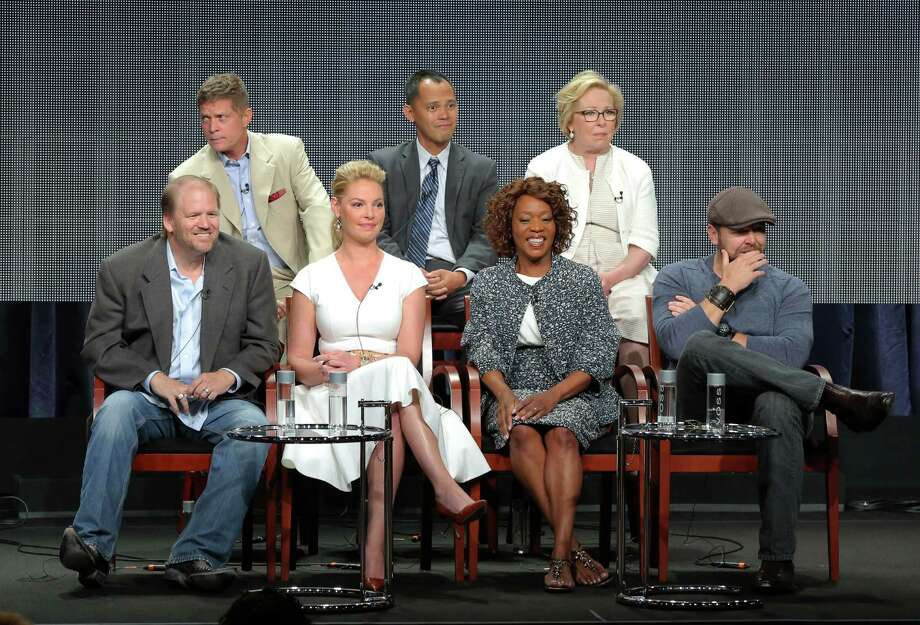 "This image released by NBC shows, back row from left, executive producers Bob Simonds, Rodney Faraon, Nancy Heigl, and front row from left, executive producers Ed Bernero, Katherine Heigl, actress Alfre Woodard and executive producer Joe Carnahan at the ""State of Affairs"" panel at the NBC 2014 Summer TCA on Sunday, July 13, 2014, in Beverly Hills, Calif. Photo: Chris Haston, AP / NBC"