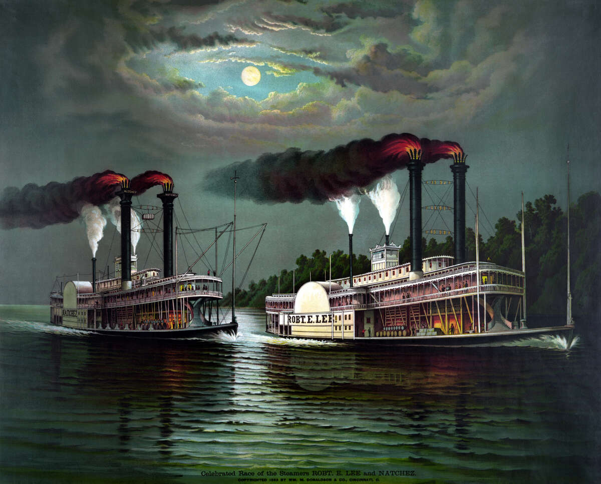 Vintage maritime history print featuring the celebrated race of the steamboats Robert E. Lee and Natchez.