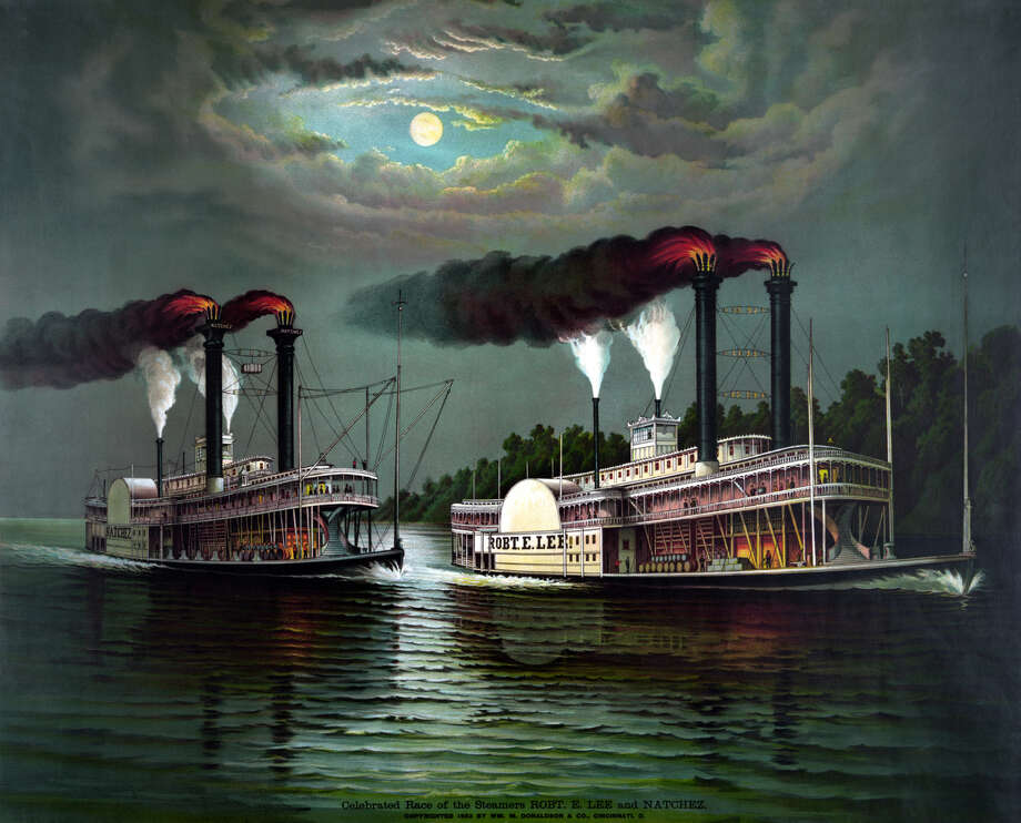 Vintage maritime history print featuring the celebrated race of the steamboats Robert E. Lee and Natchez. Photo: John Parrot/Stocktrek Images, Getty Images / Stocktrek Images