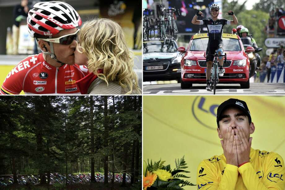 A combination of pictures shows (From L, up to bottom) shows France's Tony Gallopin kissing his girlfriend ; Germany's Tony Martin crossing the finish line ; the pack riding ; and France's Tony Gallopin celebrating his overall leader's yellow jersey on the podium, as part of the 170 km ninth stage of the 101st edition of the Tour de France cycling race on July 13, 2014 between Gerardmer and Mulhouse, eastern France. Photo: AFP, AFP/Getty Images / AFP