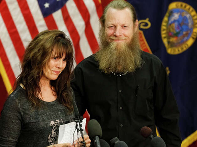 Jani and Bob Bergdahl speak to the media during a news conference at Gowen Field in Boise, Idaho, on Sunday, June 1, 2014. Their son, Sgt. Bowe Bergdahl is back in American hands, freed for five Guantanamo terrorism detainees. Photo: Otto Kitsinger, AP / FR171002 AP