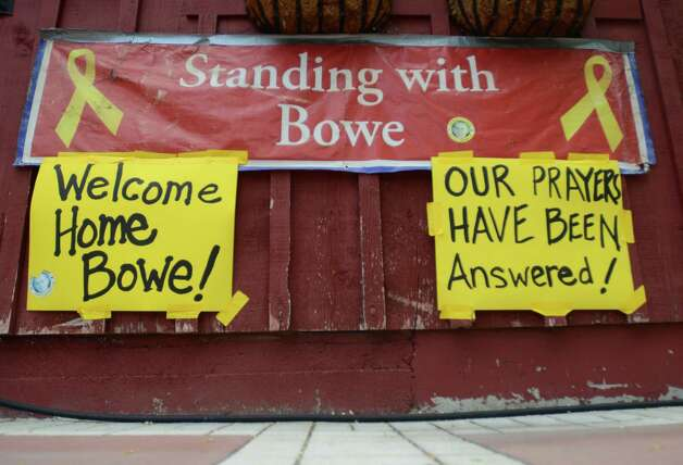 New signs hang at Zaney's coffee house in Hailey, Idaho on Saturday, May 31, 2014 after the announcement that U.S. Army Sgt. Bowe Bergdahl has been released from captivity. Bergdahl, 28, had been held prisoner by the Taliban since June 30, 2009. He was handed over to U.S. special forces by the Taliban in exchange for the release of five Afghan detainees held by the United States. Photo: Drew Nash, AP / **MANDATORY CREDIT** ORIGINAL MATERIAL: ALL IMAGES ARE COPYRIGHT ©2014, by Times-News and magicvalley.com, ALL RIGHTS RESERVED.  -- Drew Nash Staff Photographer Times-News 132 Fairfield St. W. Twin Falls, ID 83301 Desk 208.735.3251|Cell 208.520.0118|Fax 208.734.5538 Breaking News. Local News. More News. Go to www.magicvalley.com