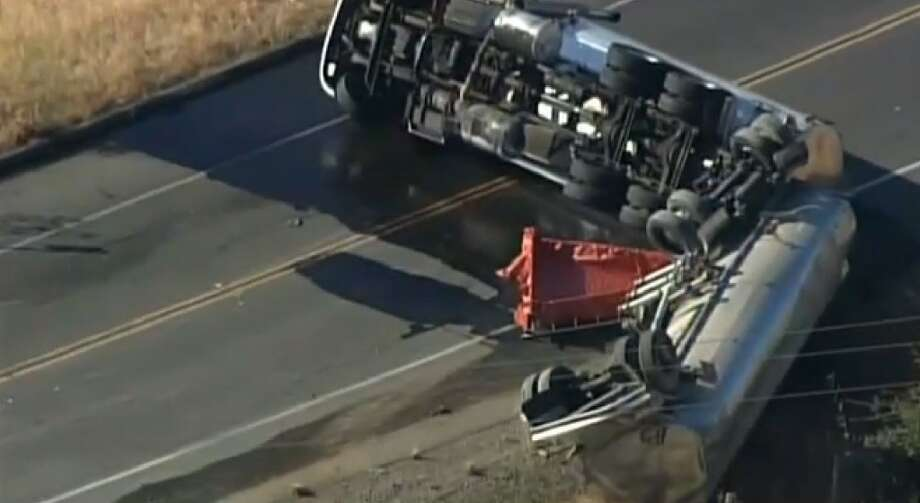 A tanker truck crash has blocked Sir Francis Drake near San Quentin on Monday morning.  The accident caused gas to leak across the roadway. Photo: CBS San Francisco