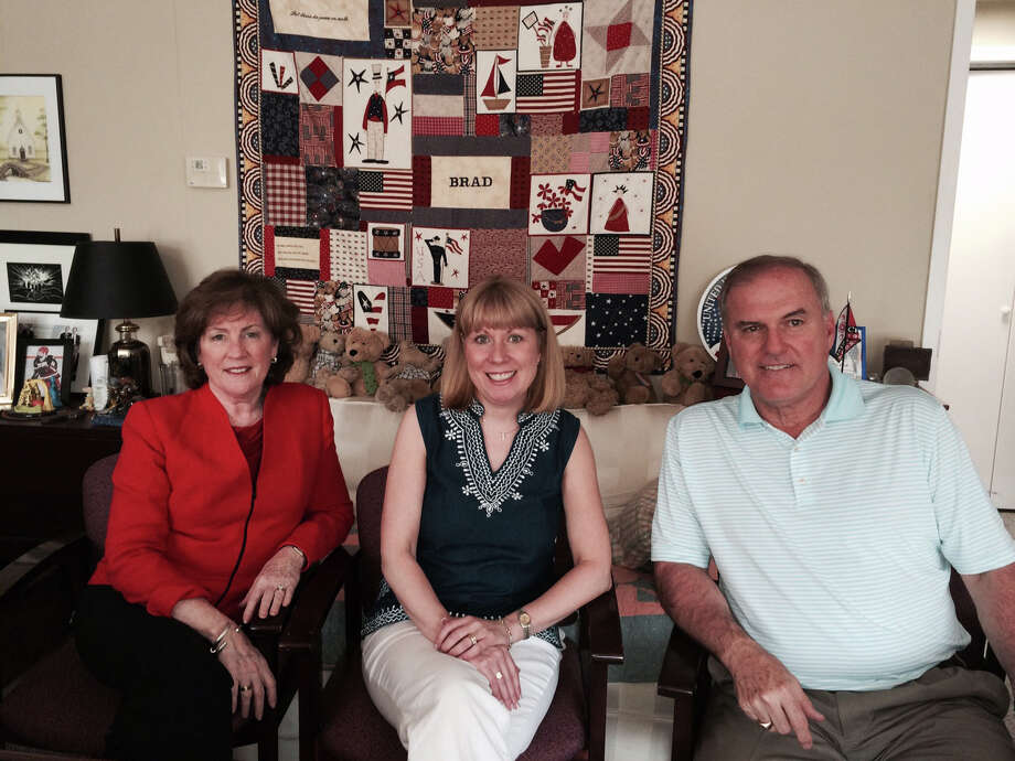 Susan Cossette Eng, center, was named development director for Voices of September 11th. She is shown above with Founding Director Mary Fetchet and Frank Fetchet. Photo: Contributed Photo, Contributed / New Canaan News Contributed
