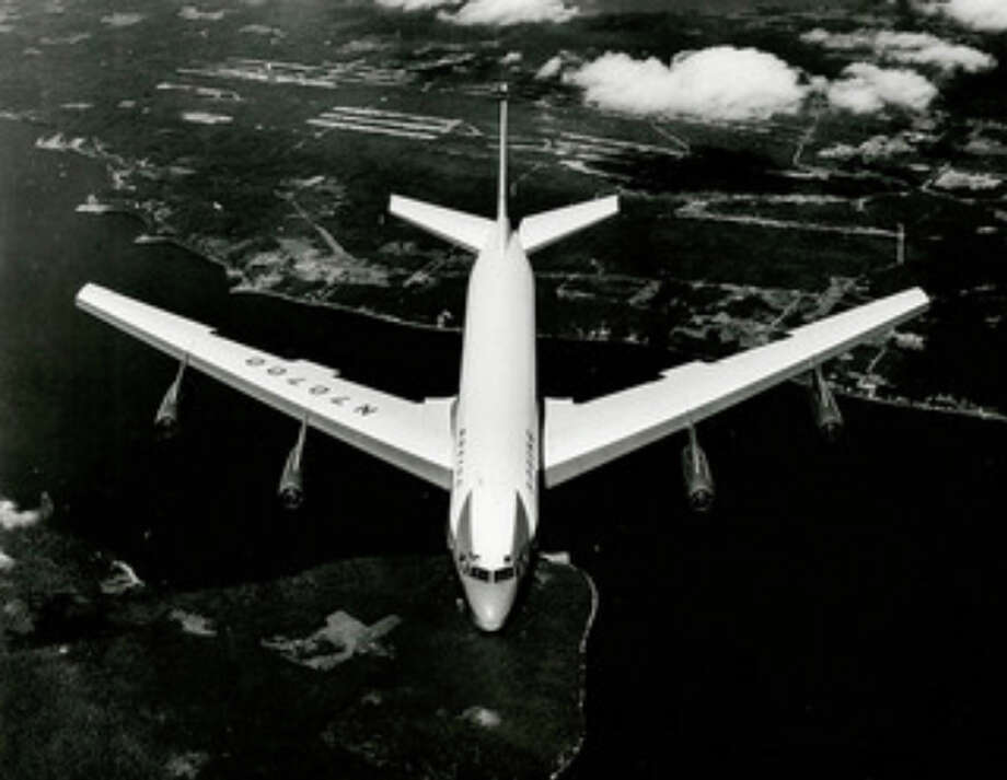 The Dash 80 conducts its first flight, on July 15, 1954, with pilot Tex Johnston and co-pilot R.L. Loesch. Photo: The Boeing Co.