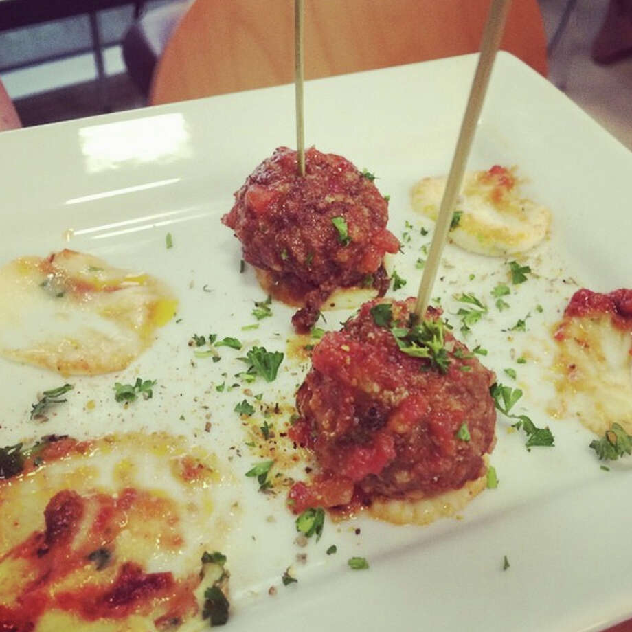 Bison fennel meatballs, featured at Green Light Kitchen's limited grand opening on Saturday, July 12, 2014. Photo via @thecatfive on Instagram