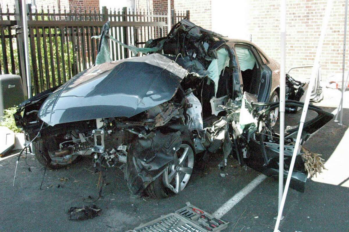 A 33-year-old Darien resident is still in the hospital following a one-car accident on Nearwater Lane June 6, police said. His 2015 Audi A3 is shown above.