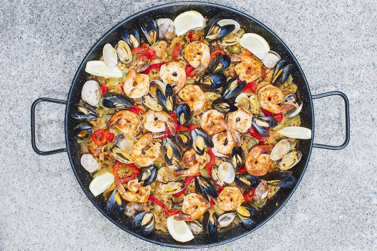 Paella by Eduardo Balaguer of Venga Paella as seen at the San Francisco Chronicle office in San Francisco, Calif. on Monday, July 7, 2014.
