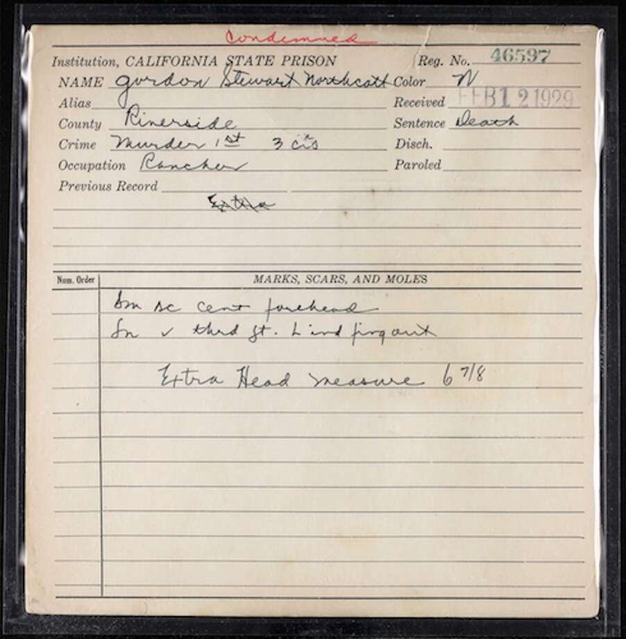 This record, noting the arrival of Northcott to San Quentin on Feb. 12 1929, shows that he had a small scar on his forehead and had been condemned to death for three counts of murder in the first degree. Photo: Ancestry.com