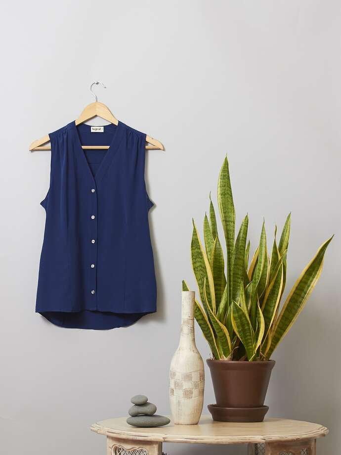 BeGood Fillmore tank in navy silk, $78. Photo: The Post Shop