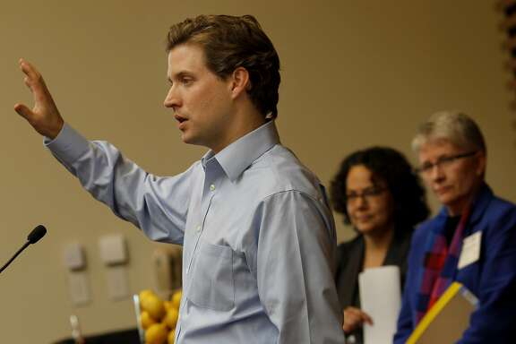 """Alec Ross, a senior advisor for innovation with the State Dept. spoke to the attendees while other State Dept. officials listened. The U.S. State Dept. is hosting a conference at Stanford University this weekend to discuss how connection technologies can be used to advance sustainable development solutions in health, environment, and economics. Using """"Demo Alley Speed Geeking"""" twenty-six companies get five minutes each to show their stuff to attendees on laptops."""