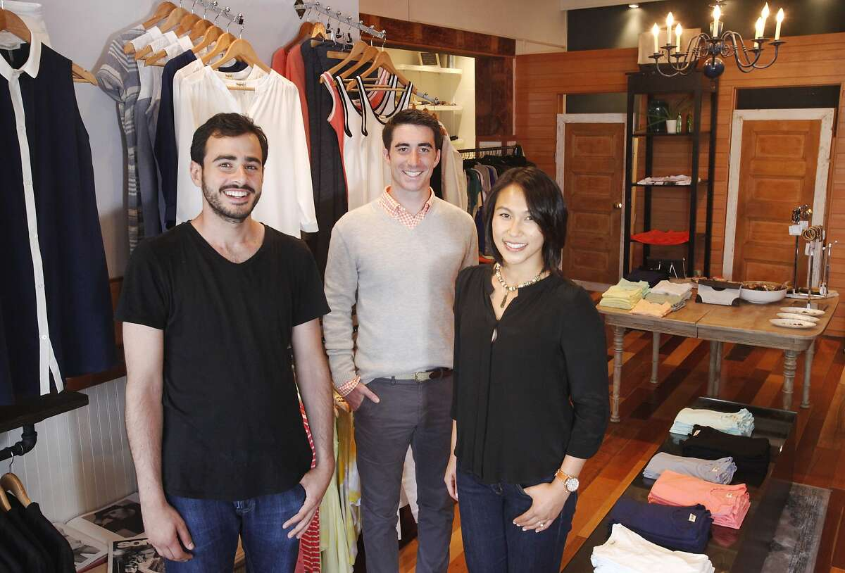 From left, Dean Ramadan, co-founder, Mark Spera, co-founder, and Jessica Chan, CFO, pictured July 9, 2014 at the BeGood clothing store in San Francisco, Calif.
