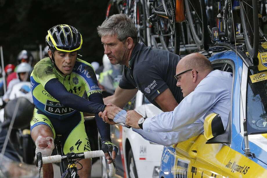 Spain's Alberto Contador, the Tour de France winner in 2010, crashed while traveling about 40 mph during the 10th stage of the Tour and X-rays showed he had a fractured shin. Photo: Christophe Ena, Associated Press