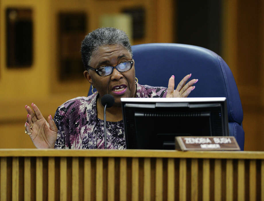 Zenobia Bush, pictured at a BISD board meeting in 2014, said during a TEA workshop that she is 'certainly thinking about running' for a school board position. Bush is a former school board member who was ousted when the Texas Education Agency took over Beaumont ISD.  Photo: Jake Daniels / ©2014 The Beaumont Enterprise/Jake Daniels