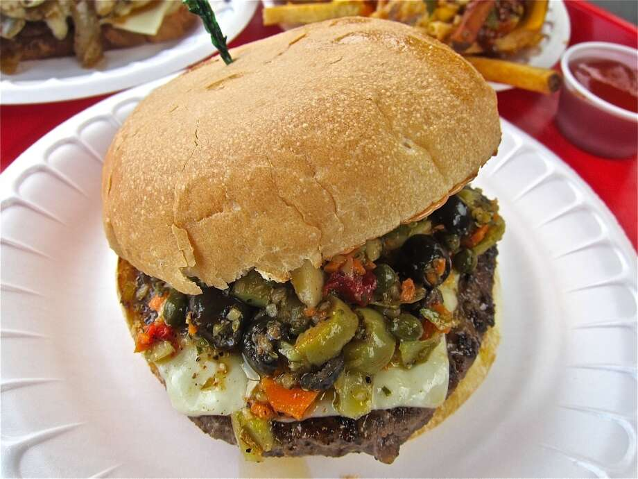 Muffaletta Burger at Hubcap Kemah. Photo: Alison Cook
