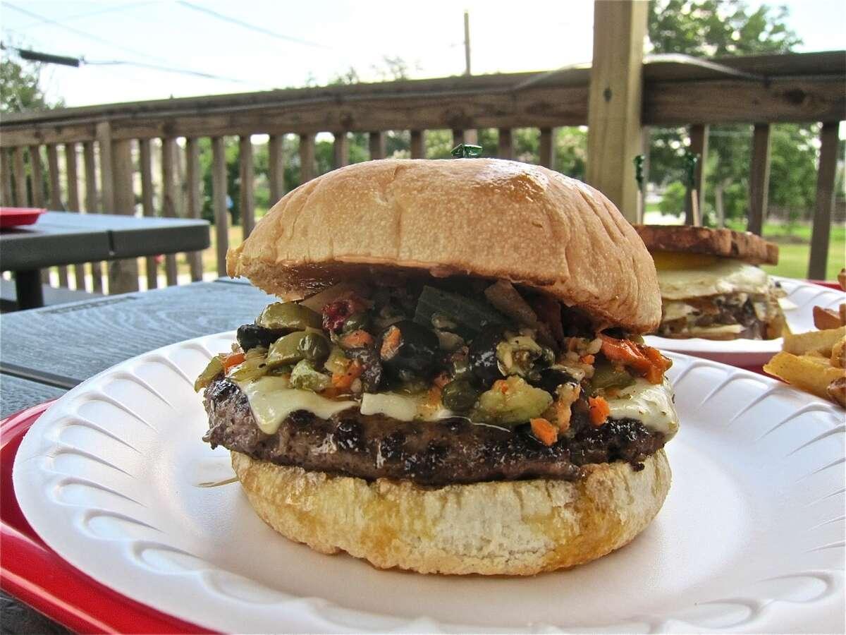 Muffaletta Burger at Hubcap Grill.
