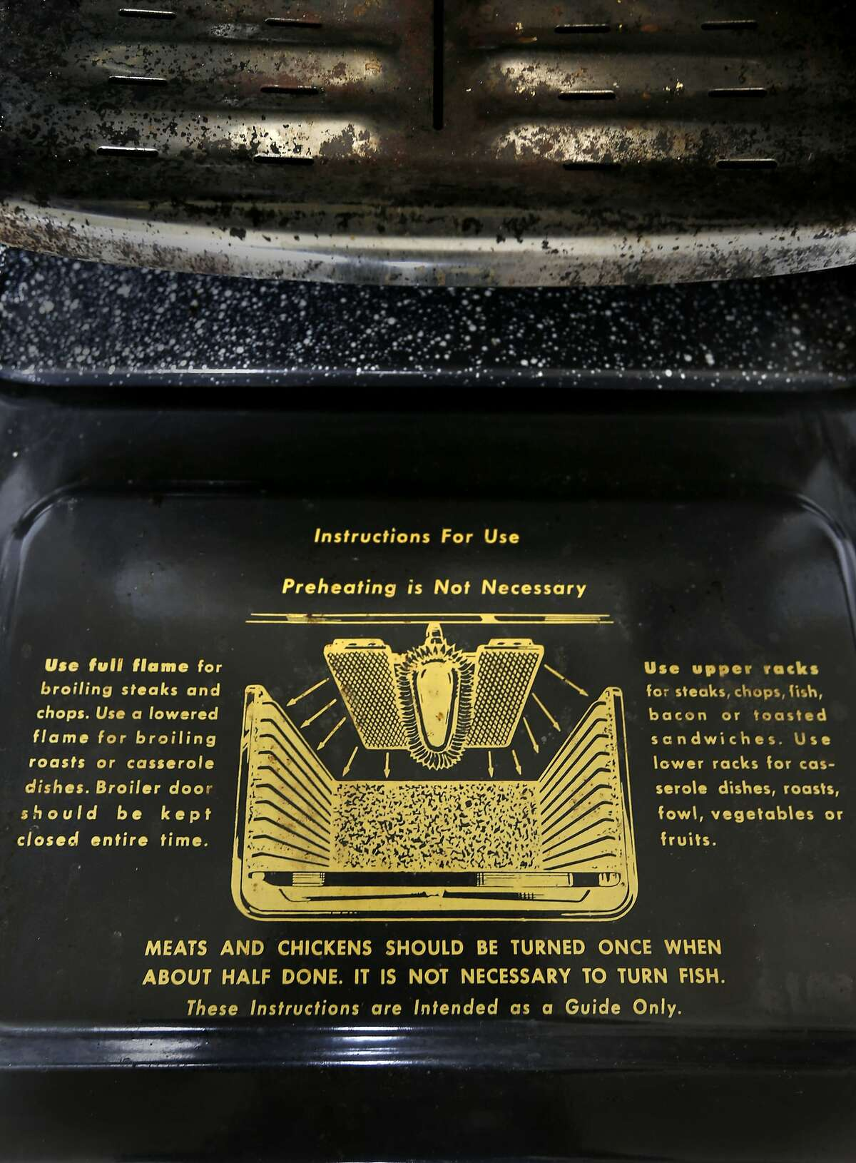 The broiler features spreads to provide high even heat on the vintage Wedgewood stove owned by Don Link as seen in Oakland, Calif., on Tuesday June 10, 2014. Link is a collector of vintage stoves.
