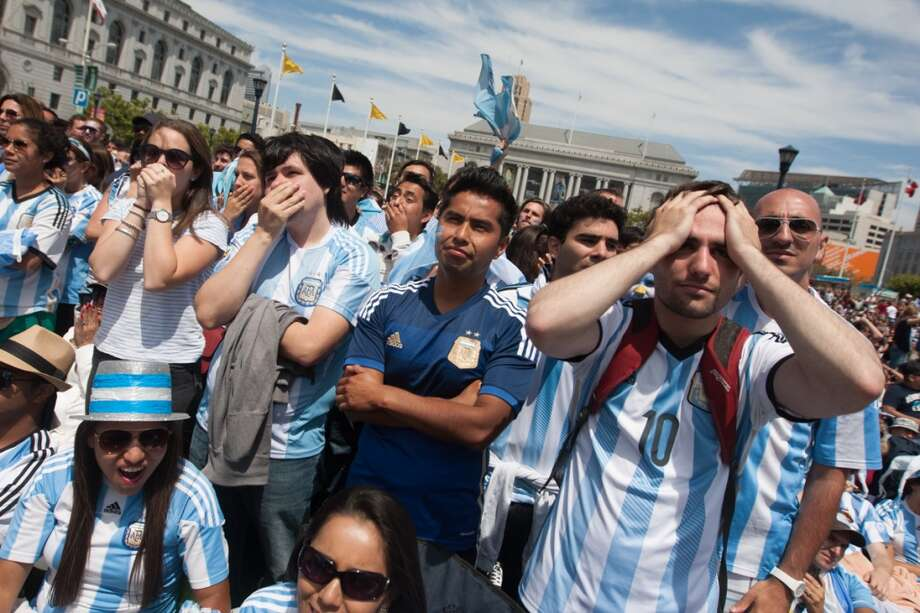The Argentina fans could only look on in disbelief.  Their World Cup dreams shattered. Photo: Douglas Zimmerman, Courtesy