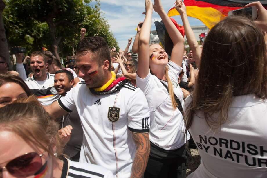 As the final whistle blew, the Germany fans were in ecstasy... Photo: Douglas Zimmerman