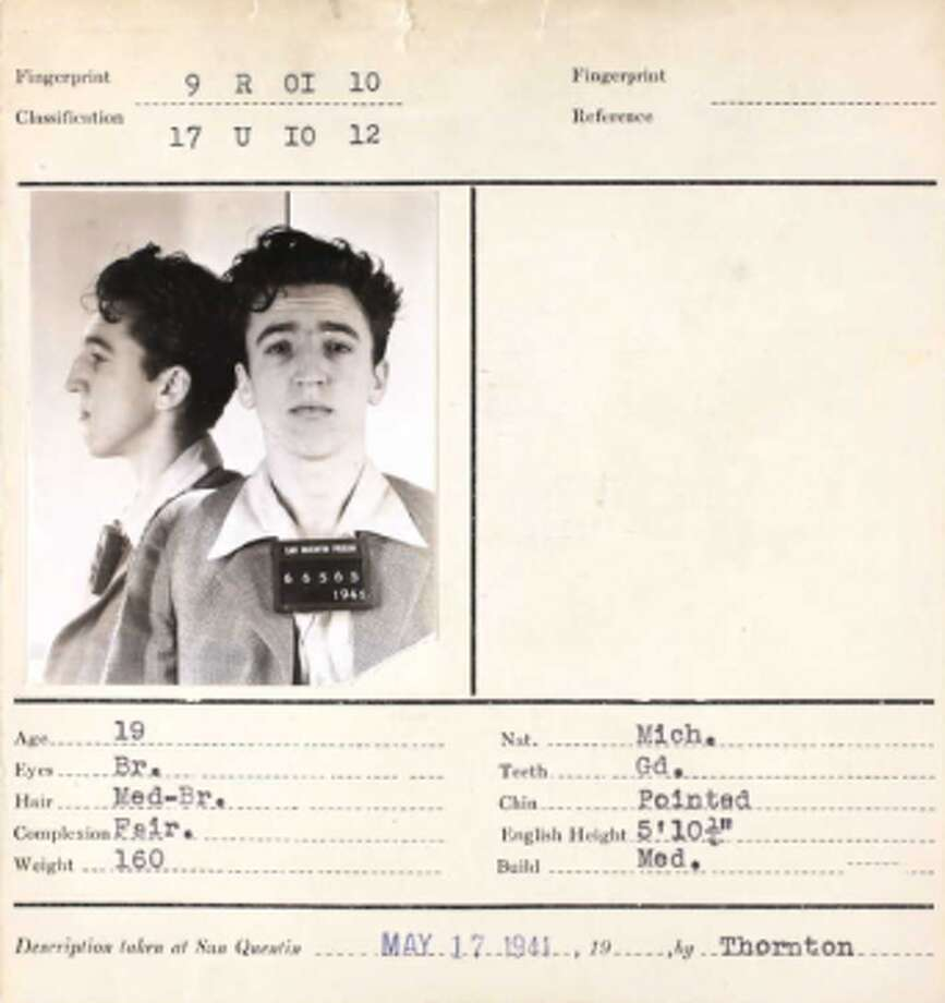 A 19-year-old inmate of San Quentin prison in his 1941 booking photo. Photo: Ancestry.com
