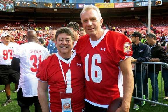 "Former 49ers owner Eddie DeBartolo (left) with former Niners quarterback Joe Montana during the ""Legends"" game at Candlestick Park. July 2014. By Catherine Bigelow."