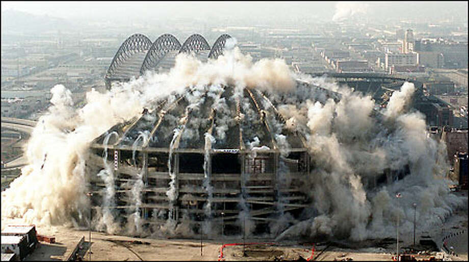 A picture of the Kingdome implosion from March 26, 2000. Click through the slideshow for a journey, in pictures, of the 24-year history of the Kingdome. / Seattle Post-Intelligencer