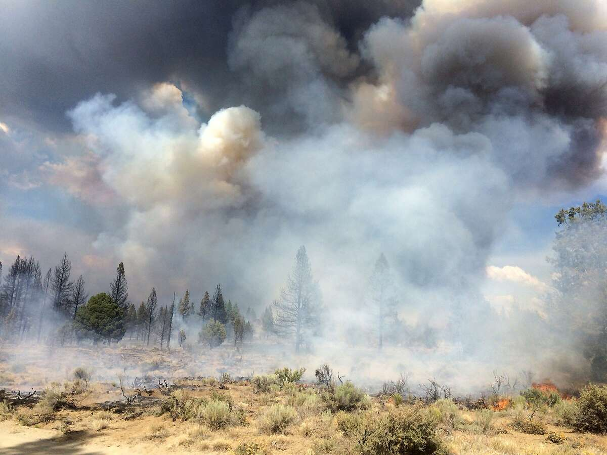 """In this Sunday July 13, 2014, photo released by the Oregon Dept. of Forestry, the Moccasin Hill fire burns north of Sprague River and northeast of Klamath Falls, Ore. Lightning struck Oregon more than 6,000 times Sunday and Monday, touching off small fires by the dozens. Such a barrage can be expected to cause numerous """"sleeper"""" or holdover fires in coming days."""