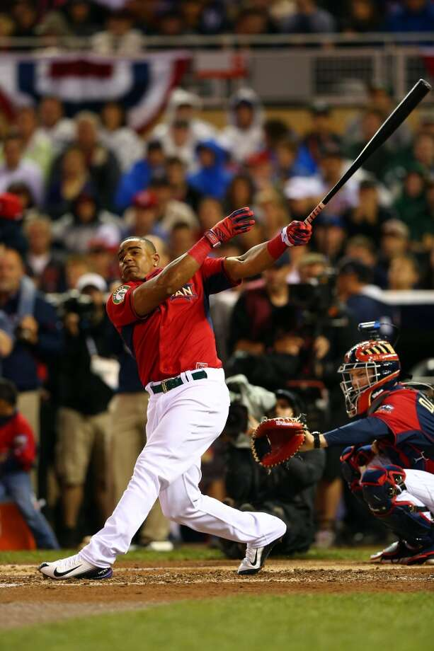 American League All-Star Yoenis Cespedes bats during the Gillette Home Run Derby. Photo: Elsa, Getty Images