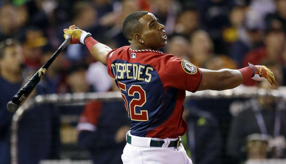 American League's Yoenis Cespedes, of the Oakland Athletics, hits during the MLB All-Star baseball Home Run Derby, Monday, July 14, 2014, in Minneapolis. (AP Photo/Jeff Roberson) Photo: Jeff Roberson, Associated Press