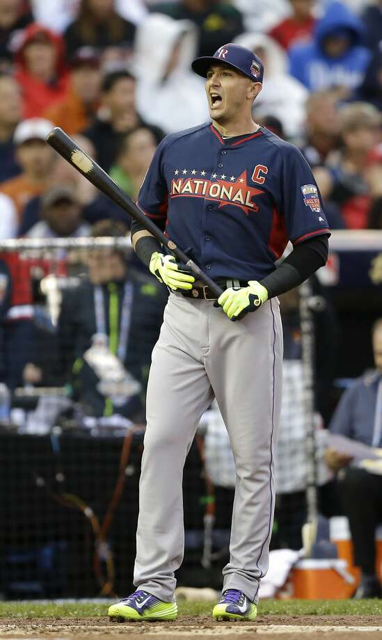 National League's Troy Tulowitzki, of the Colorado Rockies, goes to hit during the MLB All-Star baseball Home Run Derby, Monday, July 14, 2014, in Minneapolis. (AP Photo/Jeff Roberson) Photo: Jeff Roberson, Associated Press