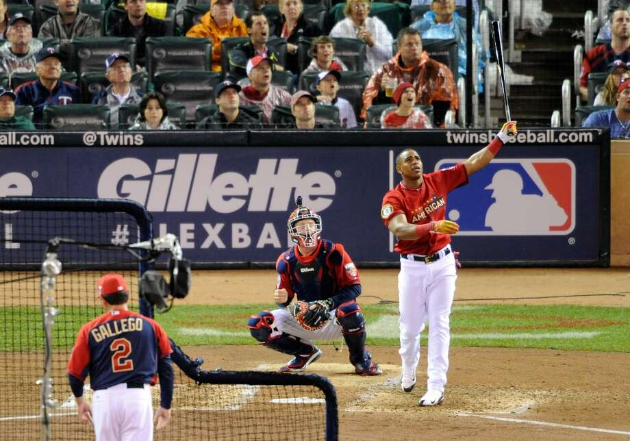 American League All-Star Yoenis Cespedes bats during the Gillette Home Run Derby. Photo: Hannah Foslien, Getty Images