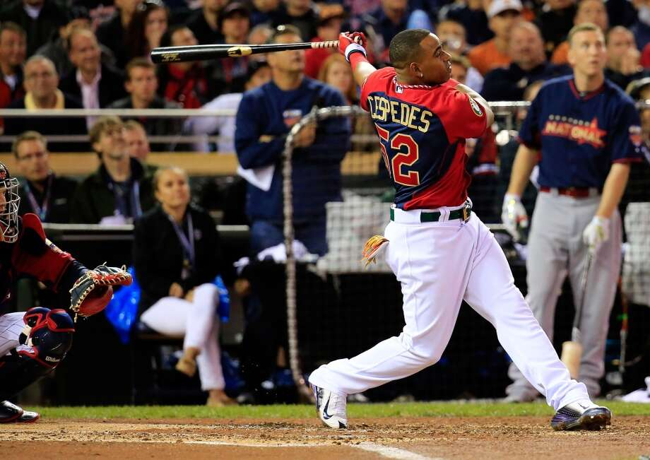 Yoenis Cespedes of the Oakland A's bats during the Gillette Home Run Derby at Target Field. Photo: Rob Carr, Getty Images