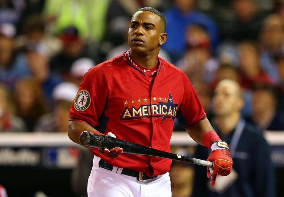 American League All-Star Yoenis Cespedes takes a moment during the Home Run Derby. Photo: Elsa, Getty Images