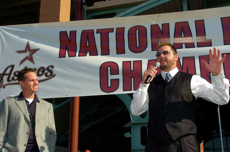 Craig Biggio and Roger Clemens speak to thousands of screaming fans Friday morning, Oct. 21, 2005 on the south side of Minute Maid Park in a City of Houston sponsored sendoff before the team left for their flight to Chicago, where they would take on the White Sox in their first World Series appearance. Photo: Johnny Hanson, Houston Chronicle / Contract