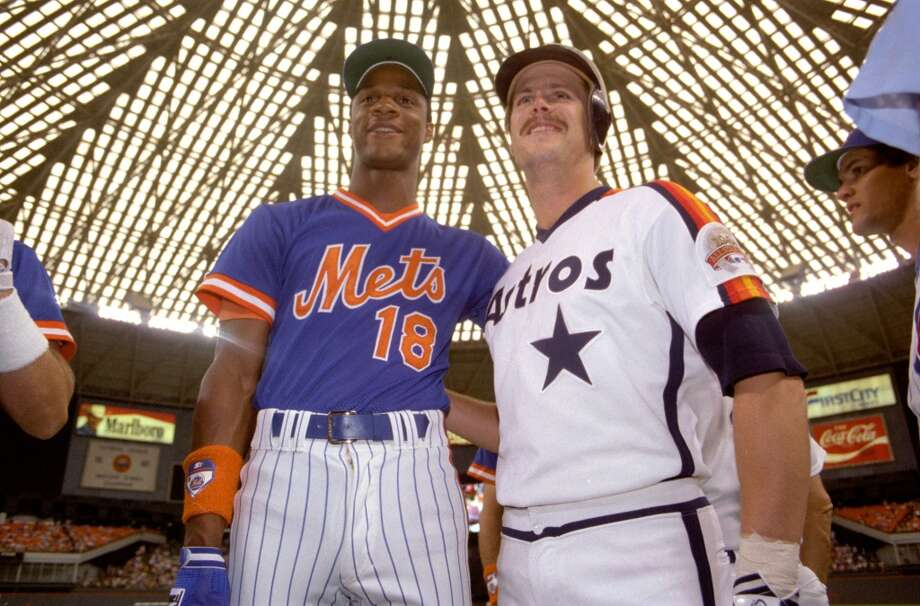 Daryl Strawberry, left, and Glenn Davis at the 1986 All-Star Game practice in the Astrodome. Photo: Howard Castleberry, Houston Chronicle