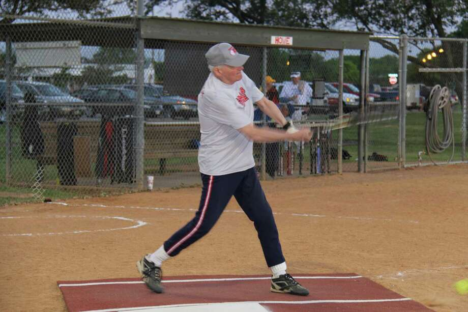 Robert Roenigk, resident of Eagle's Trace retirement community, takes his stance in the batter's box during a game in the Harris County Senior Softball League. Roenigk has been affiliated with the league for 33 years.
