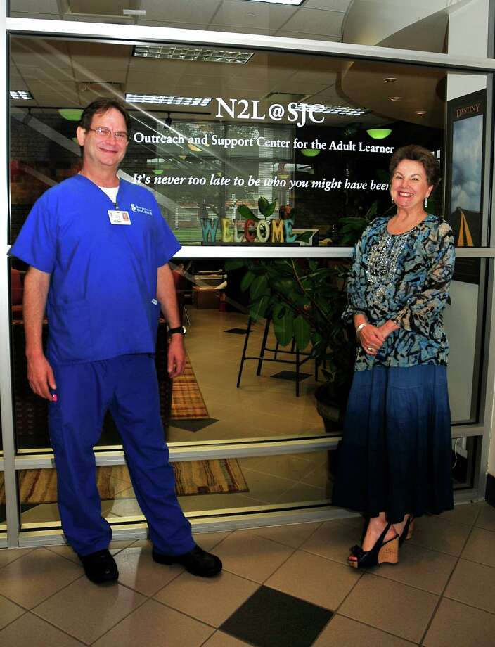 Kaye Moon Winters is shown with Bill Nelson, a San Jacinto College nursing graduate who often visited the N2L Outreach and Support Center for Adult Learners as a student.