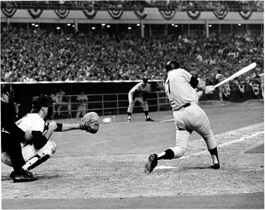 Mickey Mantle strikes out as pinch hitter against Mets righthander Tom Seaver in the eighth inning of the 1968 All-Star Game. Photo: Sam C. Pierson Jr., © Houston Chronicle