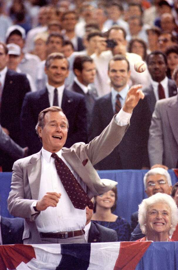 Vice President George H.W. Bush throws out the first ball at the 1986 All-Star Game in the Astrodome. Photo: Howard Castleberry, © Houston Chronicle