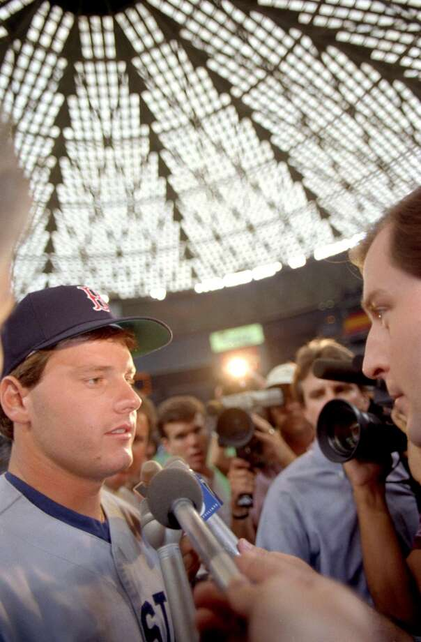 Roger Clemens is interviewed at the 1986 All-Star Game in the Astrodome. Photo: John VanBeekum, © Houston Chronicle