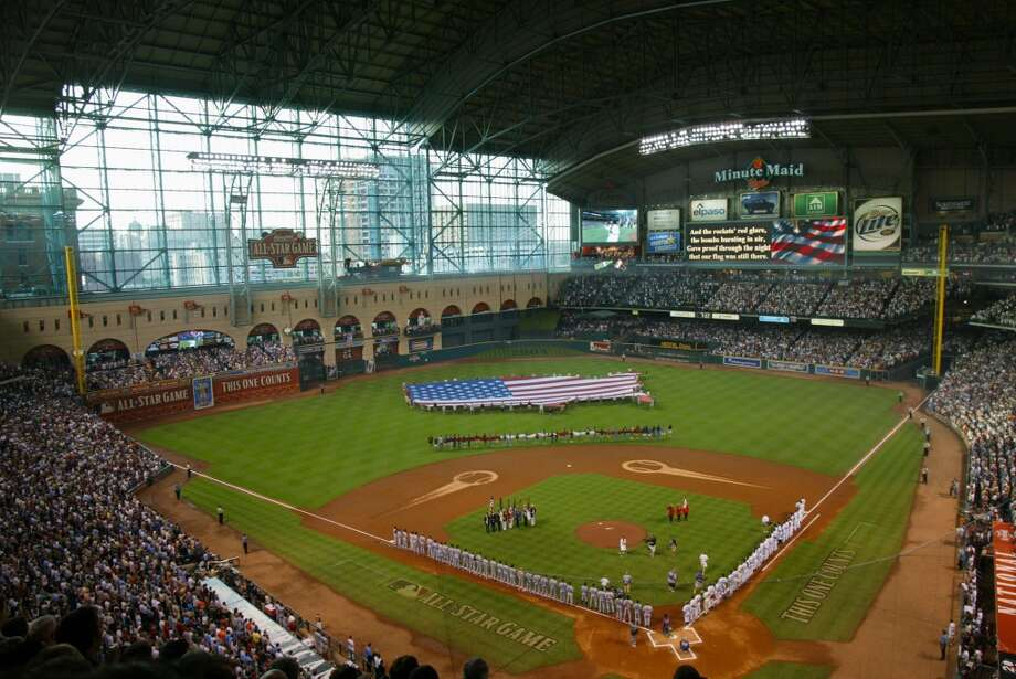 Overhead view of pregame ceremonies prior to the 2004 the Major League Baseball All-Star Game at Minute Maid Park. Photo: Paul Cunningham, MLB Photos Via Getty Images