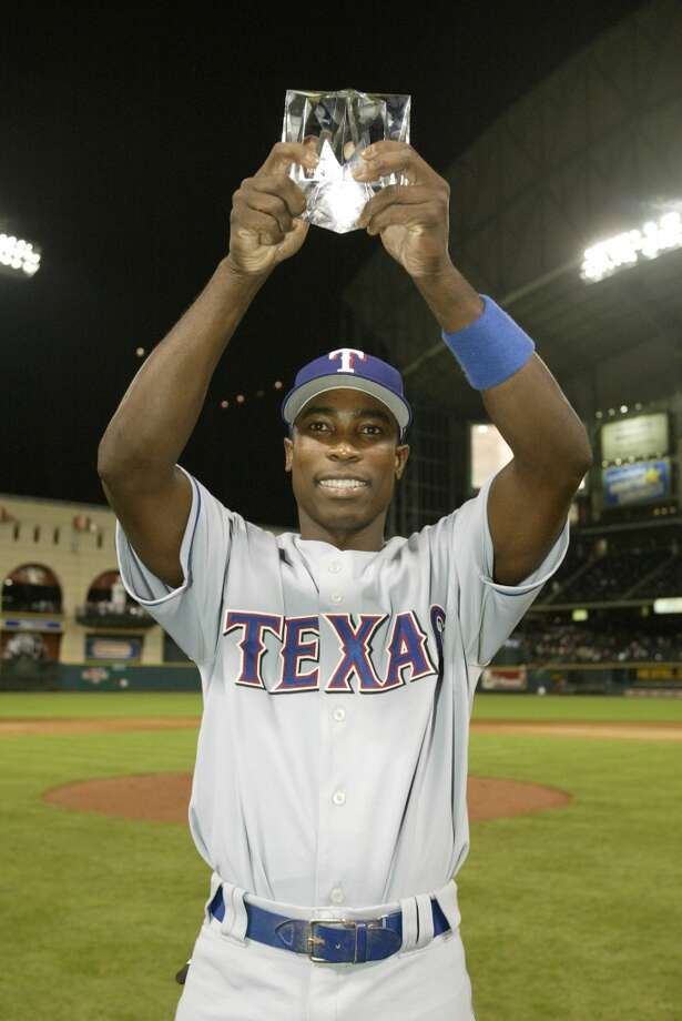 Alfonso Soriano with the MVP Award following the 2004 All-Star Game  at Minute Maid Park. Photo: Rich Pilling, MLB Photos Via Getty Images