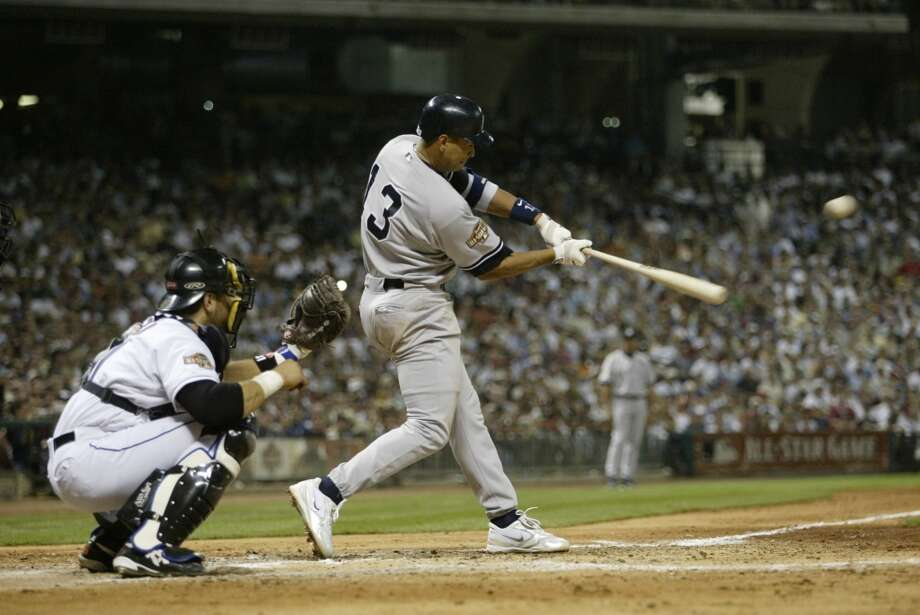 Alex Rodriguez of the Yankees gets a hit during the 2004 All-Star Game  at Minute Maid Park. Photo: Rich Pilling, MLB Photos Via Getty Images