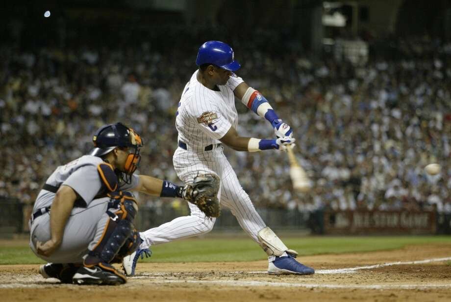 Sammy Sosa of the Cubs gets a hit during the 2004 All-Star Game at Minute Maid Park. Photo: Rich Pilling, MLB Photos Via Getty Images