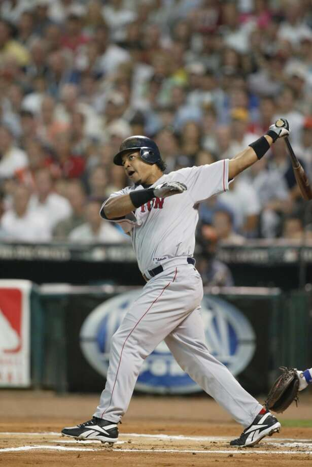 American League All-Star Manny Ramirez of the Boston Red Sox hits a two run home run in the first inning during the Major League Baseball All-Star Game at Minute Maid Park. Photo: MLB Photos, MLB Photos Via Getty Images