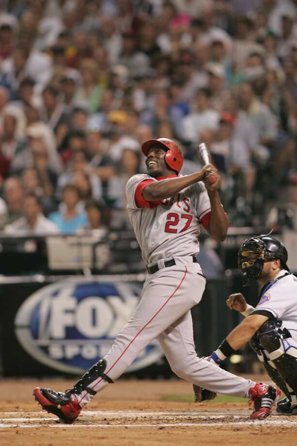 American League All-Star Vladimir Guerrero of the Angels watches the flight of the ball as he follows through on a swing during the Major League Baseball All-Star Game at Minute Maid Park. Photo: MLB Photos, MLB Photos Via Getty Images